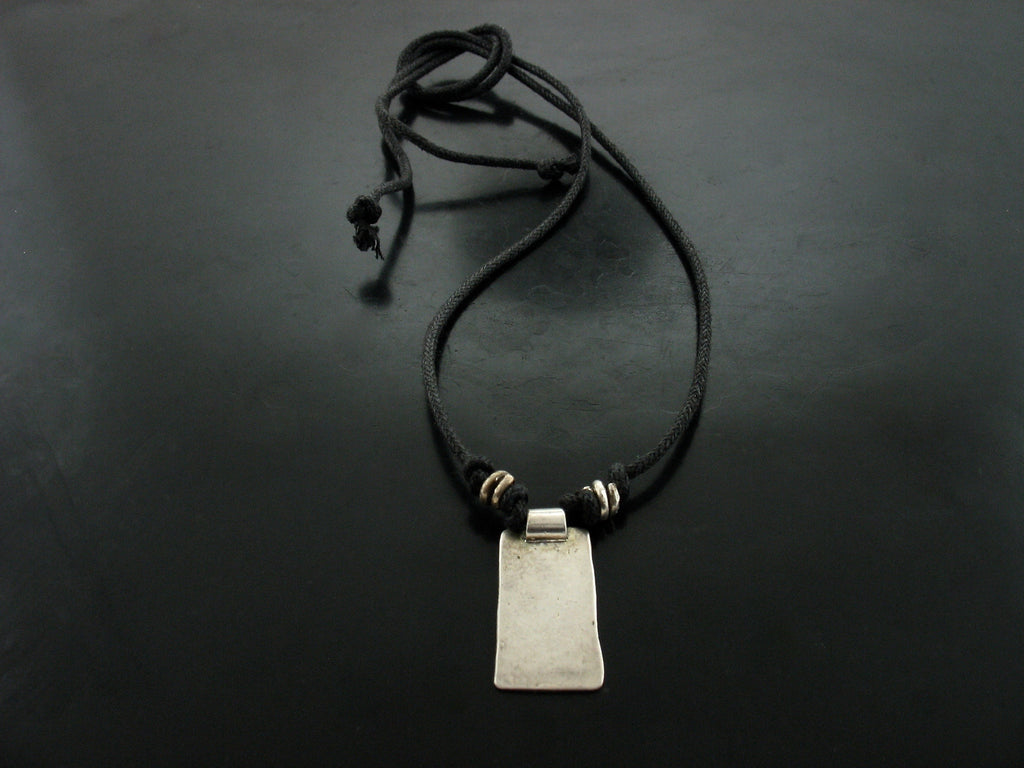 Rectangular Tag Charm on Black Cord Necklace