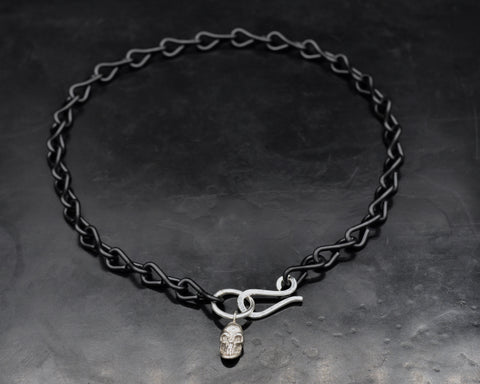 Skull ID and S Clasp Necklace - White Gold