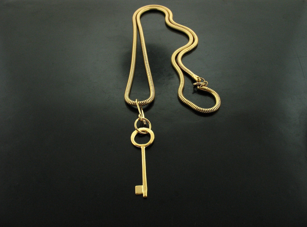 Yellow Gold Vermeil Key Necklace