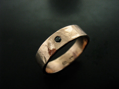 ZEUS RING ROSE GOLD & BLACK DIAMOND 4MM WIDE