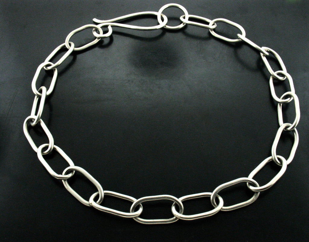 XL ZEUS LINK NECKLACE WITH S CLASP- WHITE BRONZE