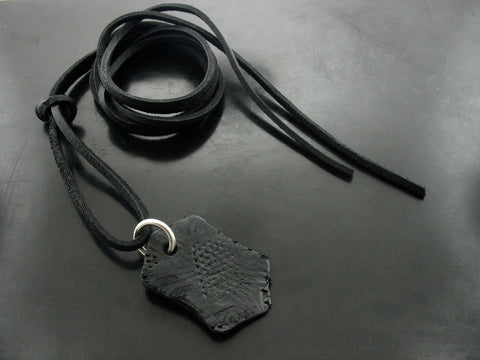 Leather Tag on Black Leather Necklace