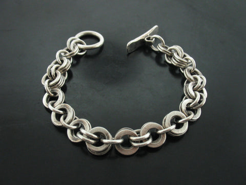 Multiple Monk Link Bracelet- Sterling Silver