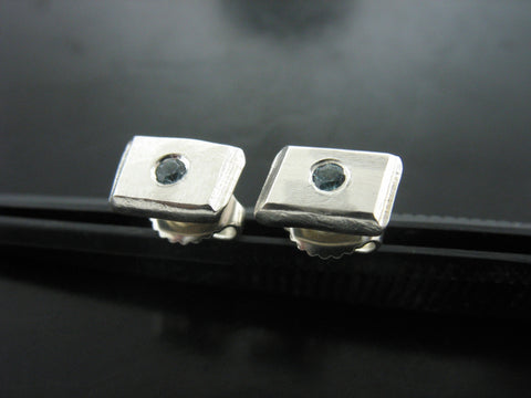 Number 50 Studs With Aquamarine