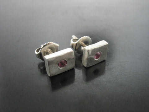 Number 50 Studs With Pink Sapphire
