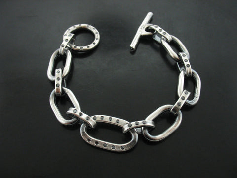 Pitbull Meets Sailor Link Bracelet with Black Diamonds