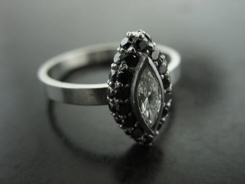 Mila's Ring- Black and White Diamonds