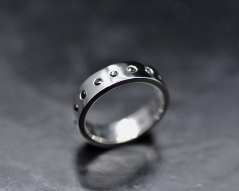 Carly's Wedding Ring - Platinum & Black Diamonds