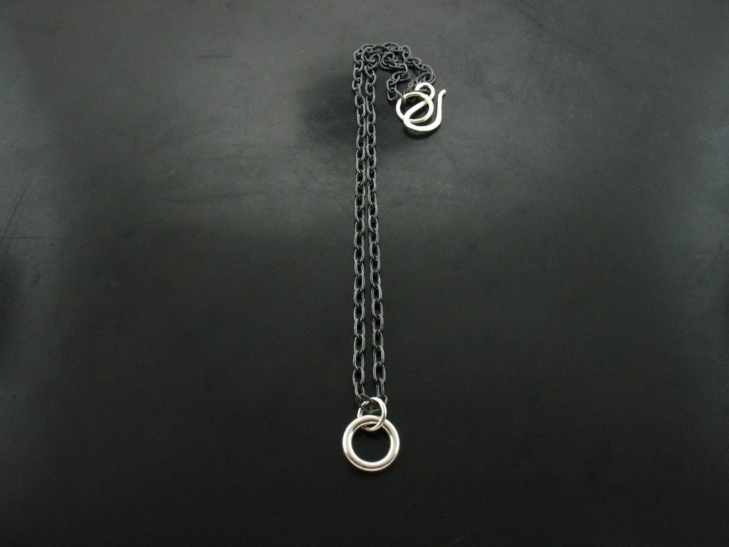 Quarter Inch Circle on Oxidized Chain Necklace