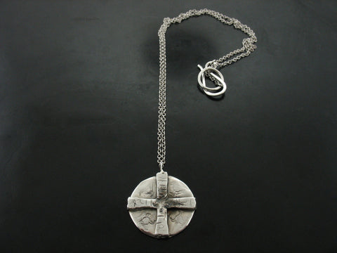 Raised White Gold Coin Necklace