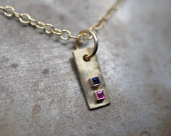 Rectangular Forged Charm Necklace- Yellow Gold, Ruby and Sapphire