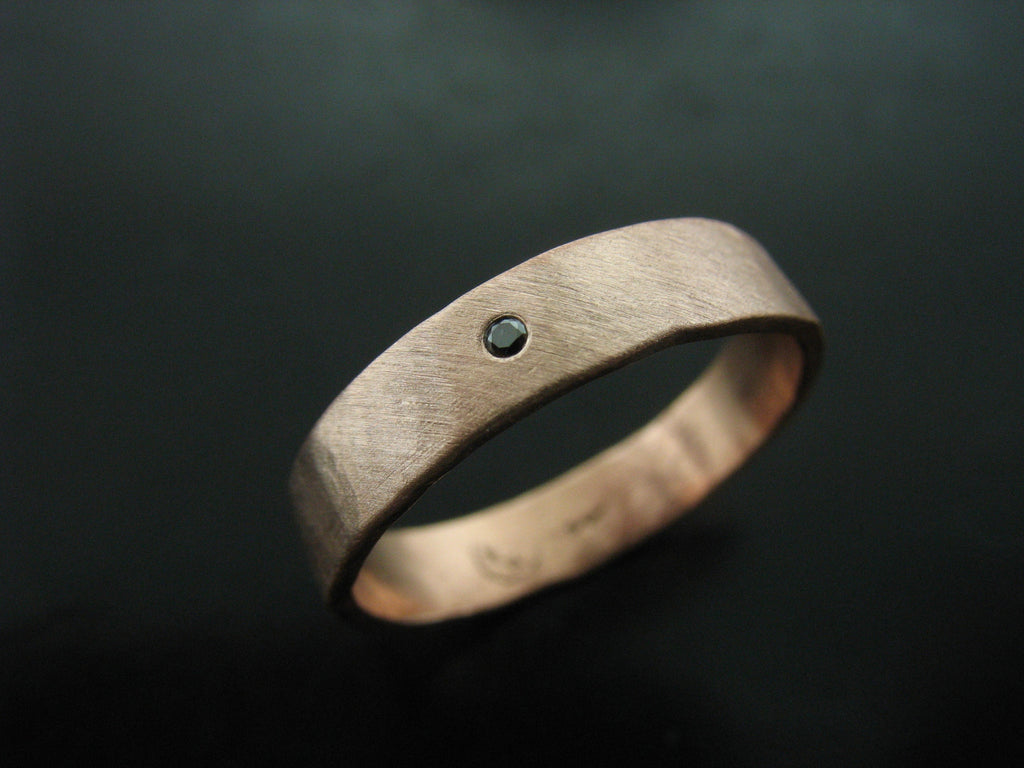 Zeus Wedding Ring- Rose Gold & Black Diamond-Men's