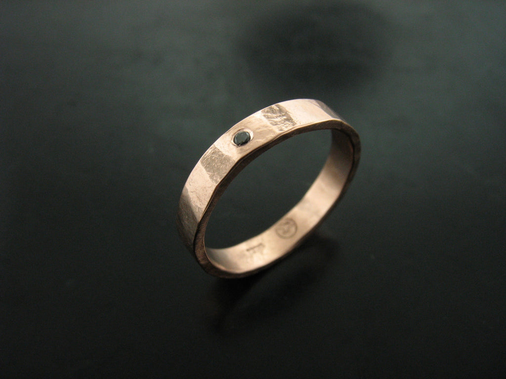 gold mens band black hammered bands wedding