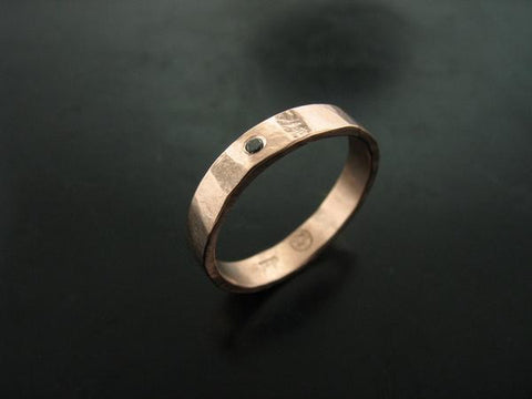 Zeus Hammered Ring - Rose Gold & Black Diamond