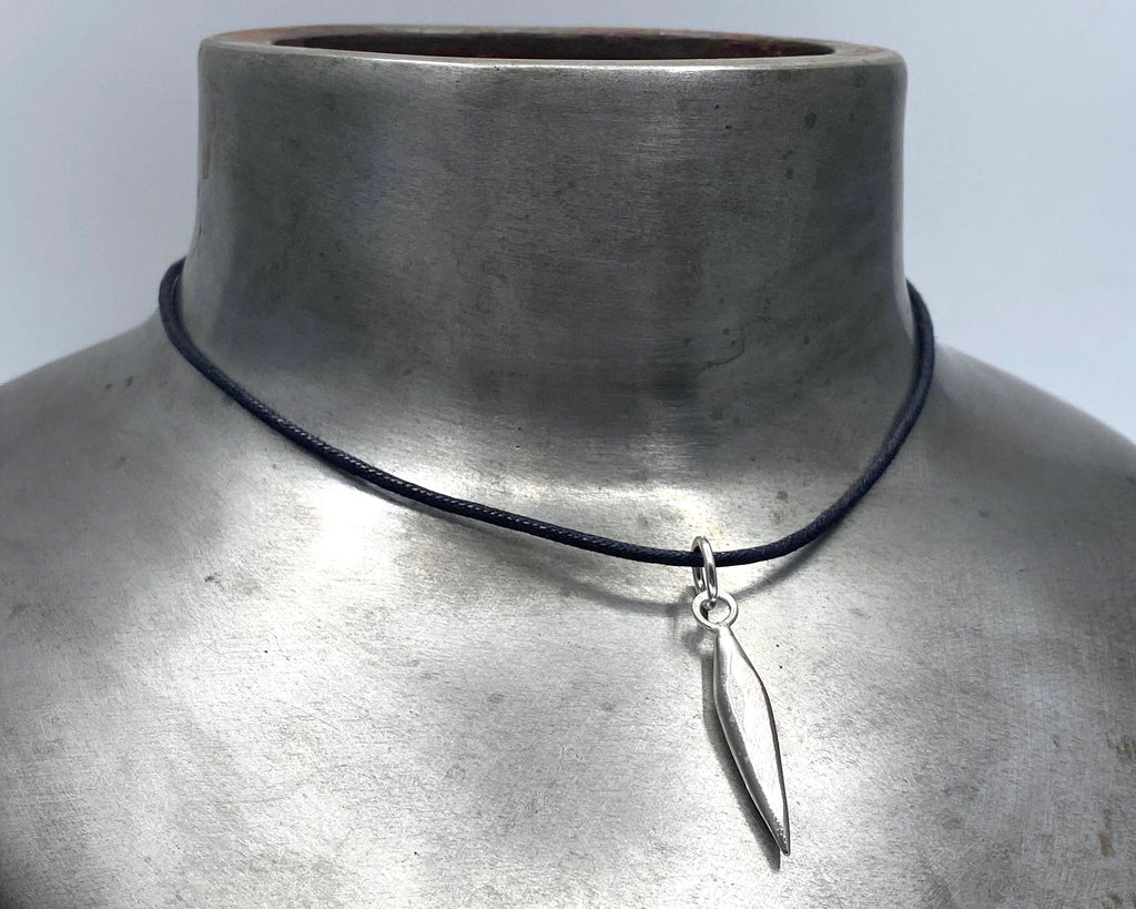Silver Drop #2 Charm on Leather Cord