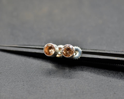 Champagne Crystal Stud Earrings in Bezel