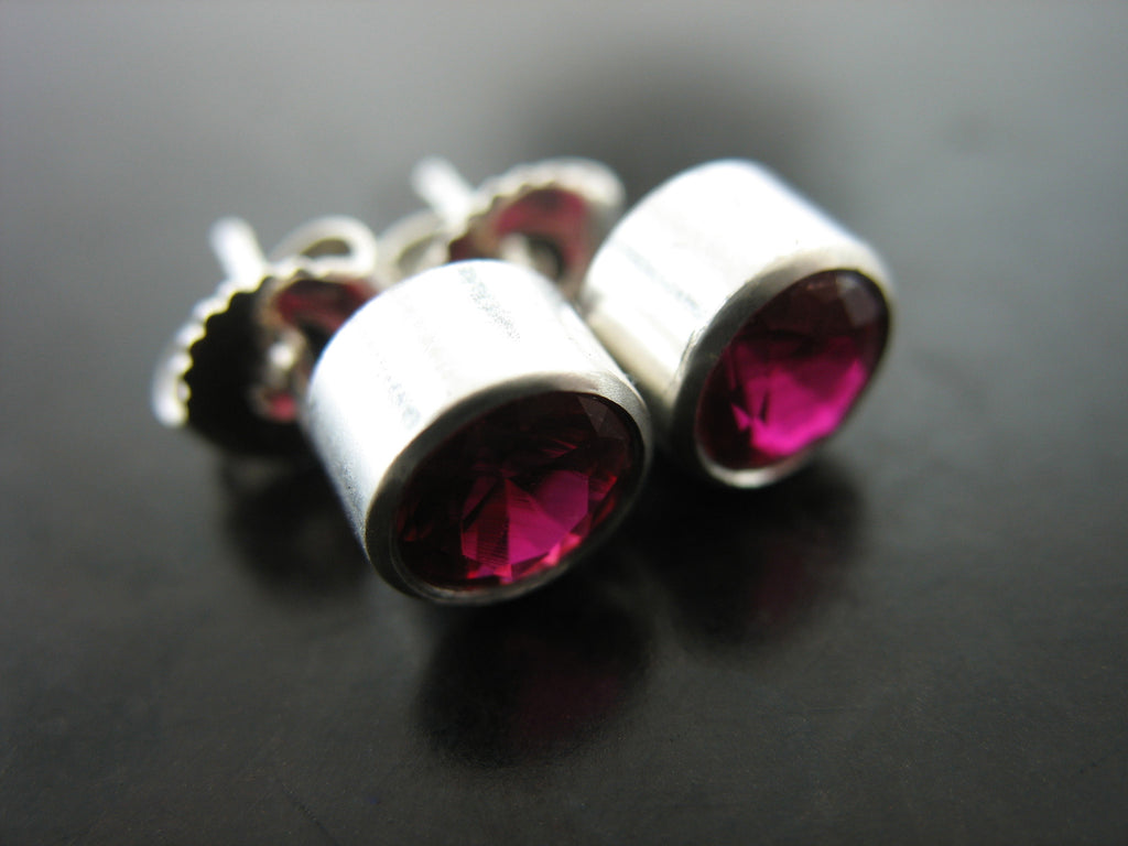 Red Crystal Stud Earrings in Bezel