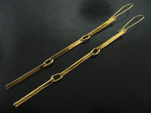 Triple Link Number 70 Earrings- Yellow Gold Vermeil