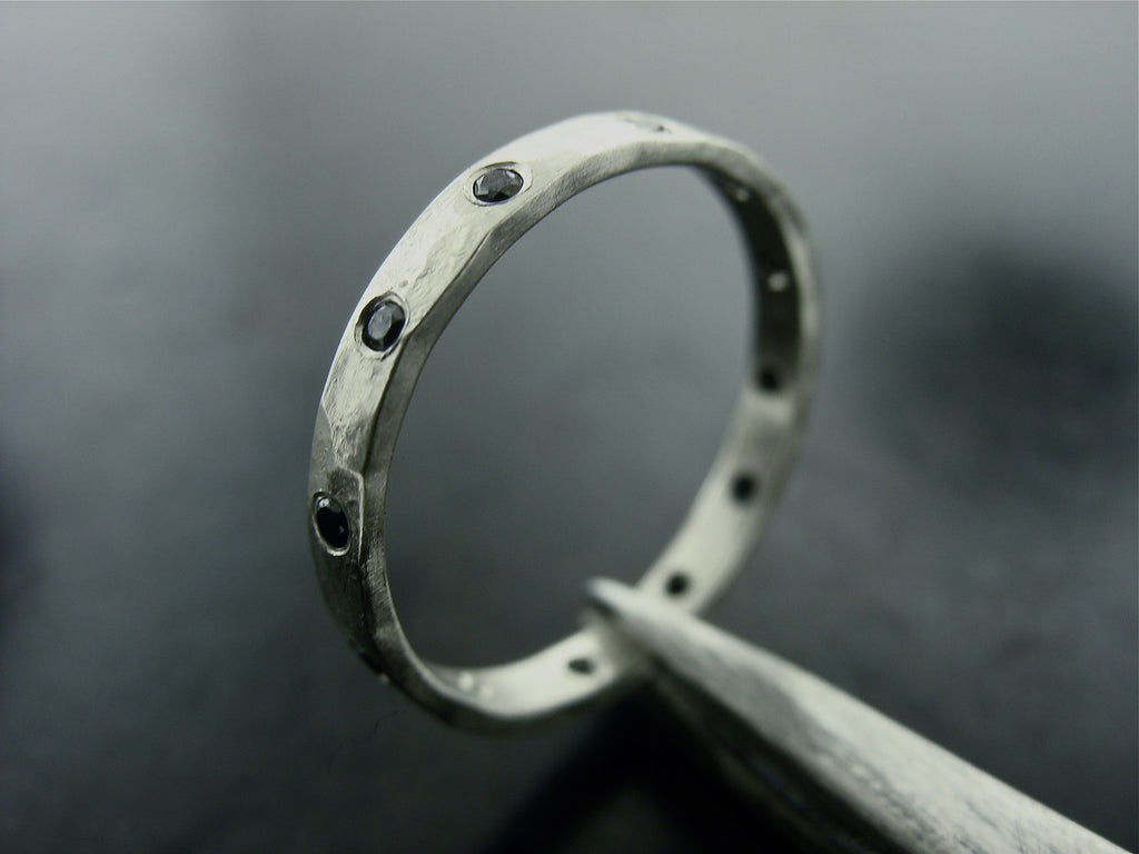 Hammered Morava Wedding Ring, Platinum, Diamonds