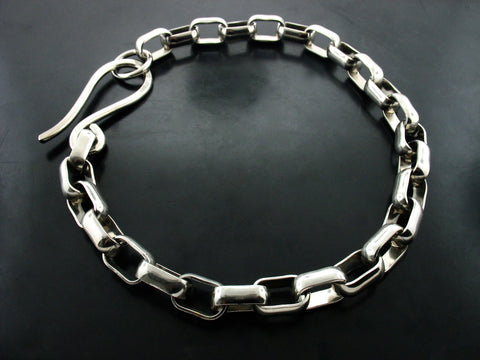 WHITE GOLD PLATE #70 LINK NECKLACE WITH S CLASP