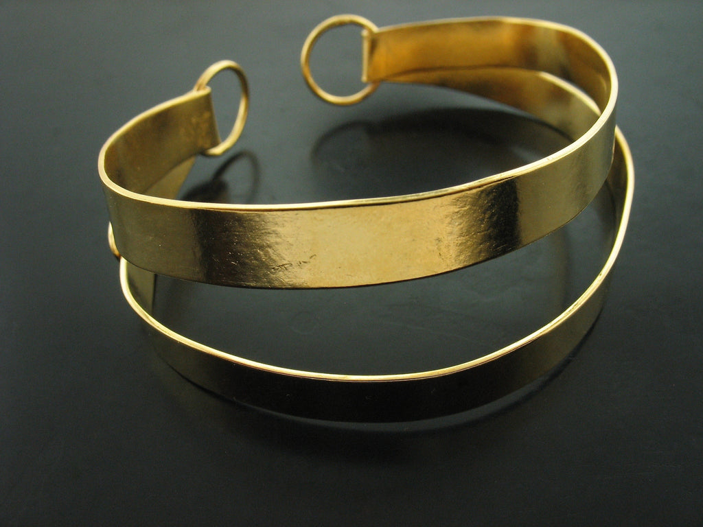 Yellow Gold Vermeil Double Open Cuff