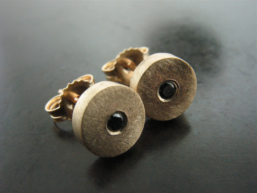 YELLOW GOLD & BLACK DIAMOND STUDS