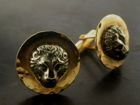 Lion Shirt Cufflinks, Yellow Gold, White Gold