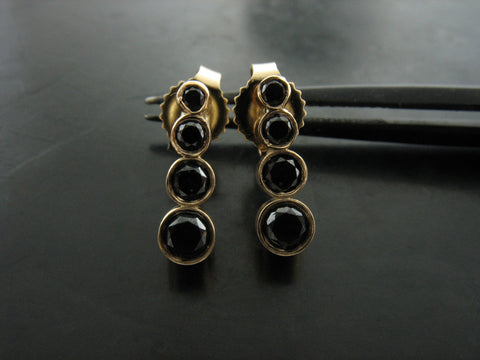 Ascending Black Diamond Studs - Yellow Gold