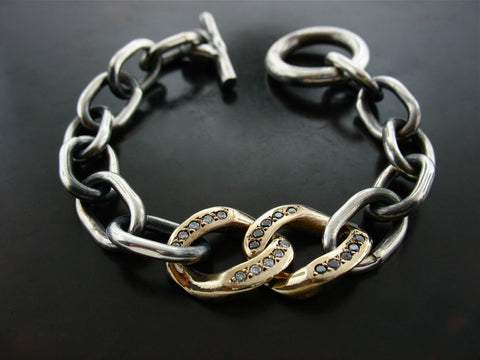Curb Meets Zeus Link Bracelet- Sterling Silver, Gold, Black & White Diamonds