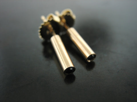 Bullet Studs - Yellow Gold and Black Diamonds