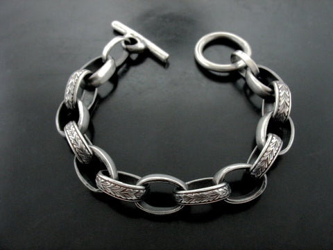 Carved Large Sailor Link Bracelet