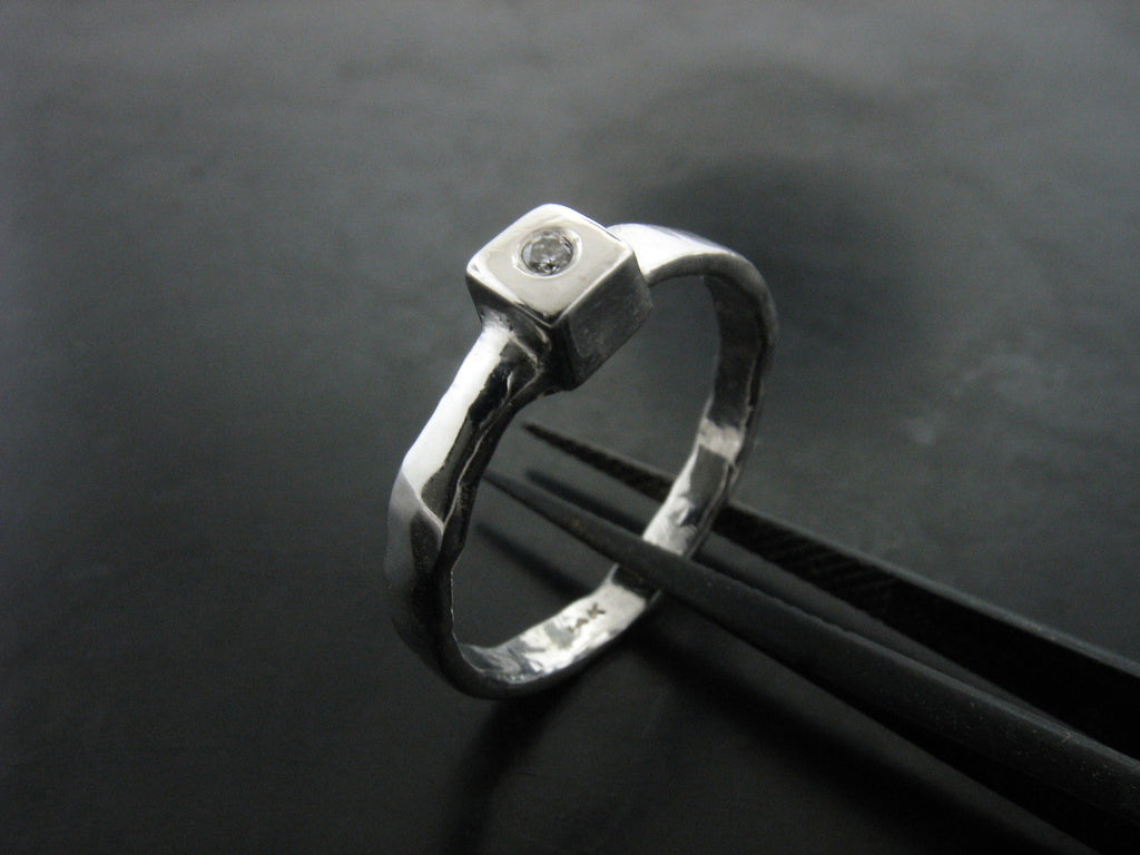 Cube Stackable Ring with Diamond