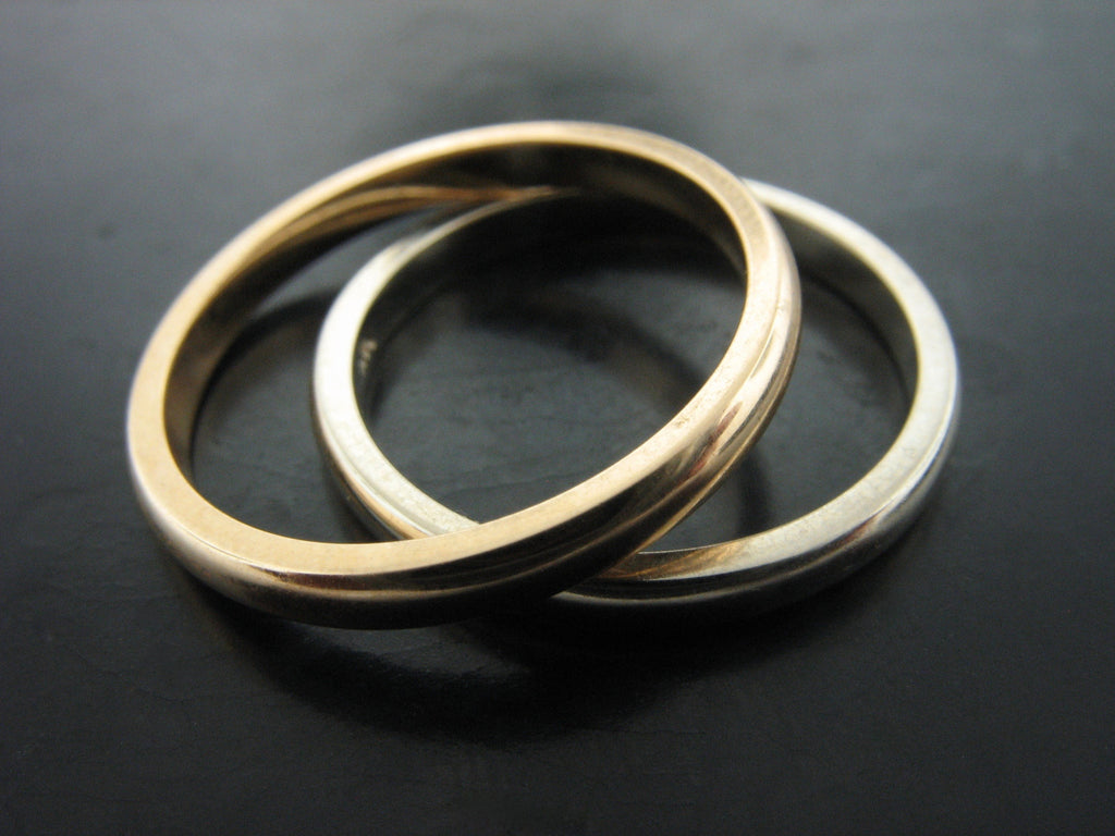DANUBE - NARROW YELLOW AND WHITE GOLD RINGS