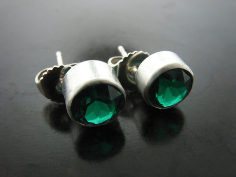 Green Crystal Stud Earrings in Bezel
