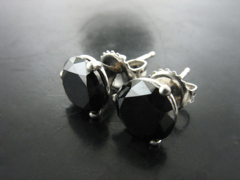 Black Diamond Studs in Platinum