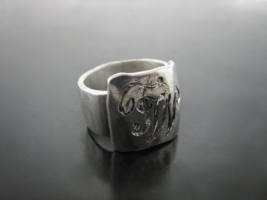 hand carved initials ring