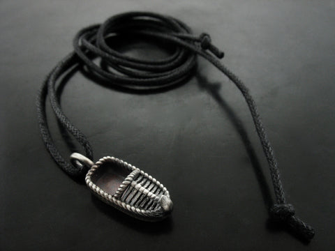 Opanak Charm on Black Cord Necklace