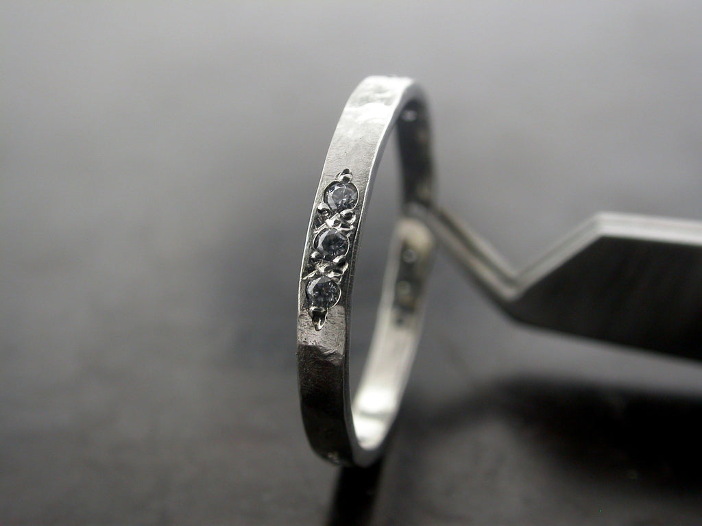 Hammered And Engraved Mono Dalma Wedding Ring, Platinum, Diamonds