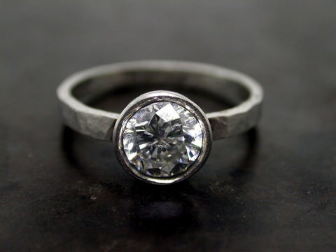 Valentine's Engagement Ring, Platinum Brilliant Cut Diamond