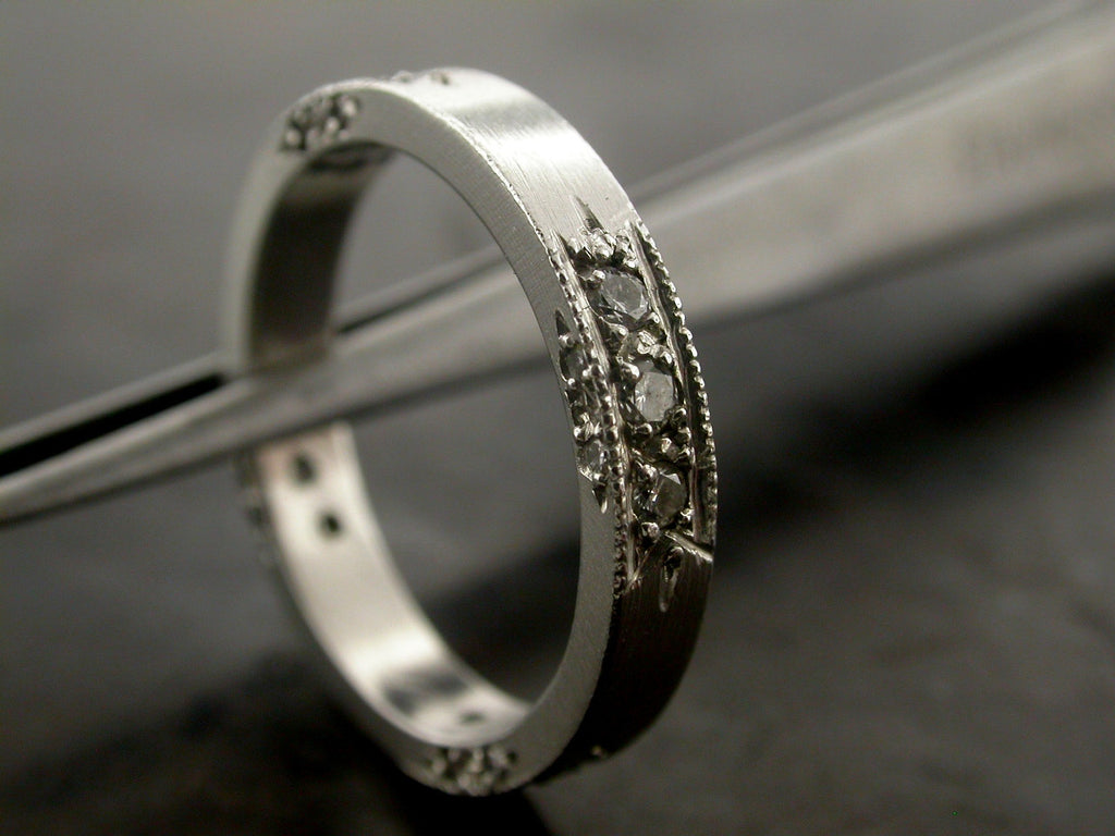 Larissa's Wedding Ring, Platinum Diamonds, Carved
