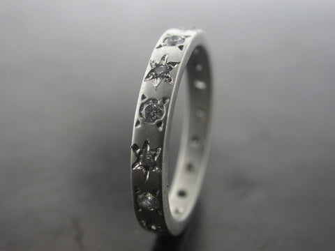 Carved Star Wedding Ring, Platinum, Diamonds