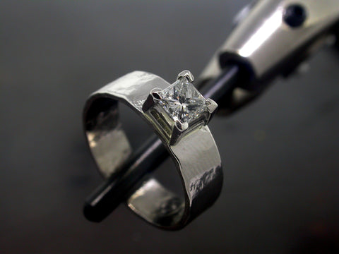 Princess Engagement Ring, Platinum Princess Square Cut Diamond Liquid