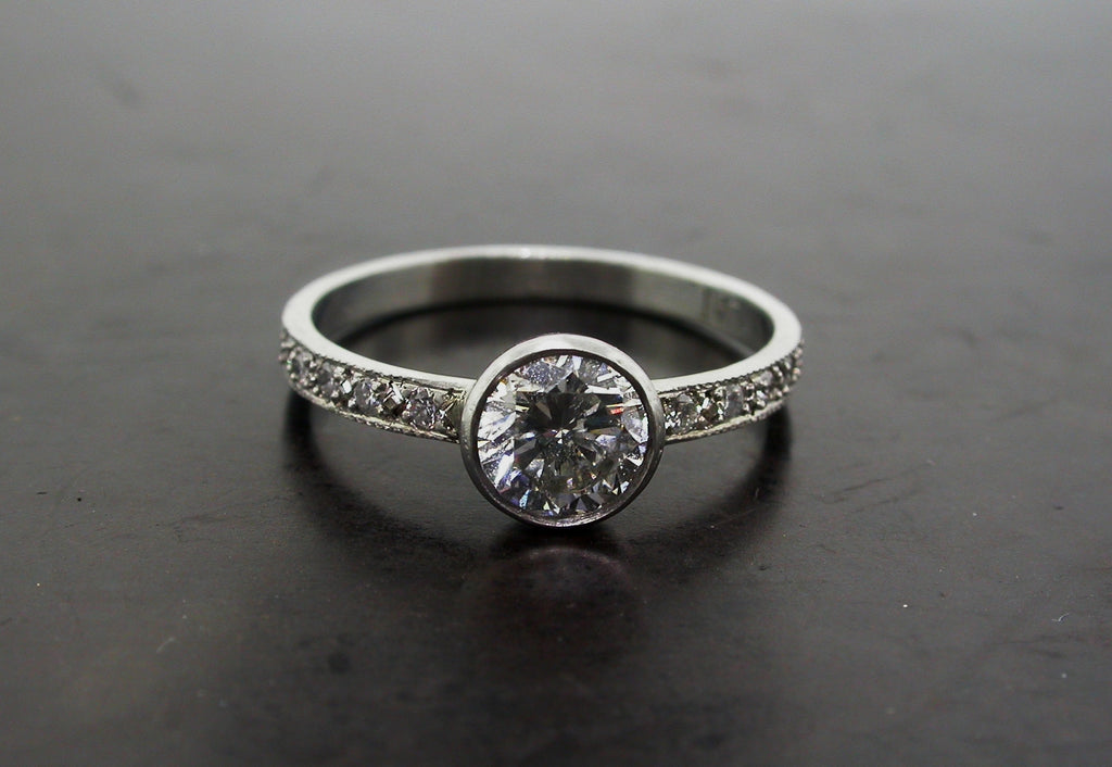 Valeria's Engagement Ring, Platinum Round Brilliant Cut Diamond Handcarved Pave