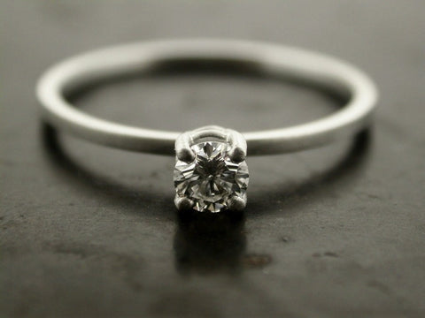 Alice's Engagement Ring, Platinum White Round Cut Diamond