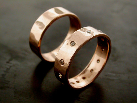 Zeus And Rachele's Wedding Rings, Rose Gold And Chocolate Diamonds