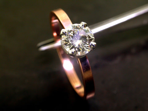 Dusha's Engagement Ring, Rose Gold Round Brilliant Cut Diamond
