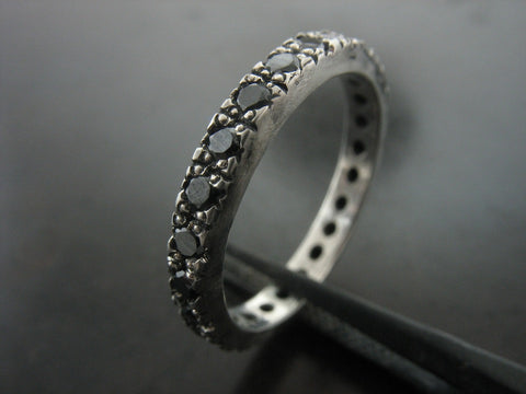 Black Crystals Stacking Ring