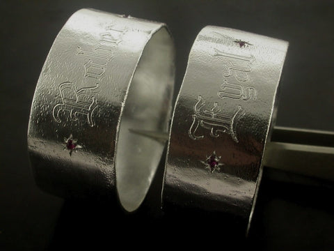 Engraved Napkin Holders, Sterling Silver with Ruby