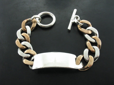 STERLING SILVER ID DOUBLE TONE CURB LINK BRACELET