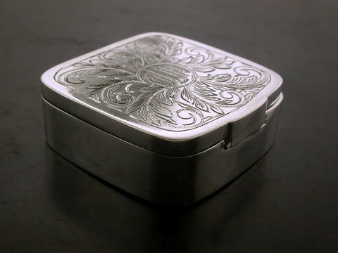 Box, Sterling Silver, Hand Carved